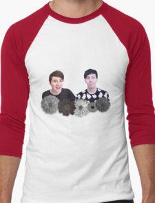 Dan and Phil- Black and White Flowers Men's Baseball ¾ T-Shirt