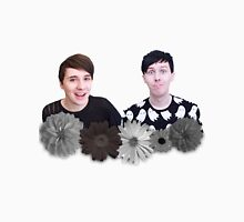 Dan and Phil- Black and White Flowers Unisex T-Shirt