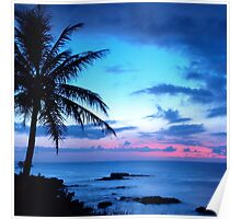 Tropical Island Pretty Pink Blue Sunset Landscape Poster