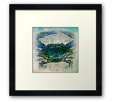Blue Crab Eco style Framed Print