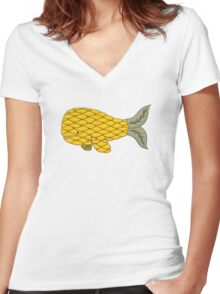 Pineapple Whale Women's Fitted V-Neck T-Shirt
