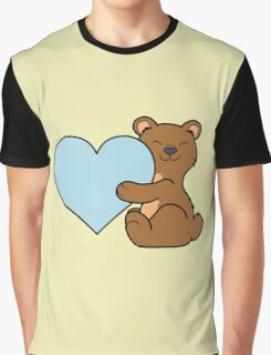 Valentine's Day Brown Bear with Light Blue Heart Graphic T-Shirt