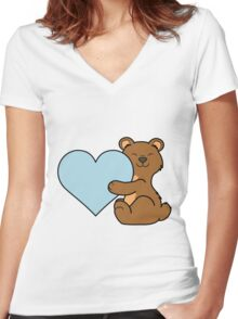 Valentine's Day Brown Bear with Light Blue Heart Women's Fitted V-Neck T-Shirt