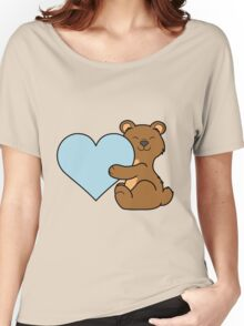 Valentine's Day Brown Bear with Light Blue Heart Women's Relaxed Fit T-Shirt