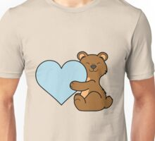 Valentine's Day Brown Bear with Light Blue Heart Unisex T-Shirt