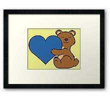 Valentine's Day Brown Bear with Blue Heart Framed Print