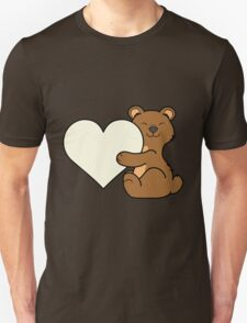 Valentine's Day Brown Bear with Cream Heart Unisex T-Shirt