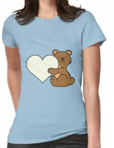 Valentine's Day Brown Bear with Cream Heart Womens Fitted T-Shirt