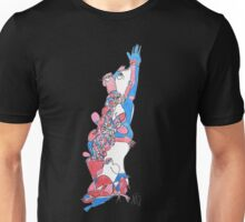 Abstract Human Figure Reaching Colorful Modern Line Drawing Unisex T-Shirt