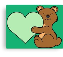 Valentine's Day Brown Bear with Light Green Heart Canvas Print