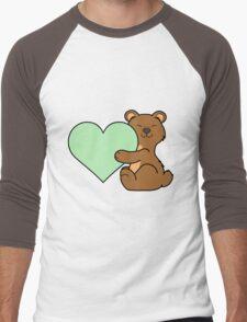Valentine's Day Brown Bear with Light Green Heart Men's Baseball ¾ T-Shirt