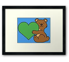 Valentine's Day Brown Bear with Green Heart Framed Print