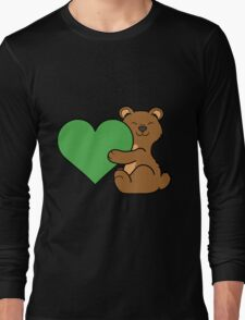 Valentine's Day Brown Bear with Green Heart Long Sleeve T-Shirt