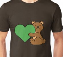 Valentine's Day Brown Bear with Green Heart Unisex T-Shirt