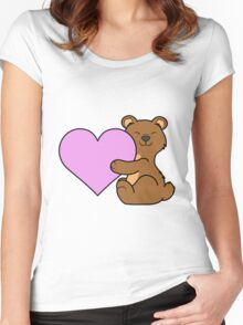 Valentine's Day Brown Bear with Light Pink Heart Women's Fitted Scoop T-Shirt