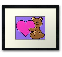 Valentine's Day Brown Bear with Pink Heart Framed Print