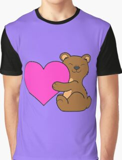 Valentine's Day Brown Bear with Pink Heart Graphic T-Shirt
