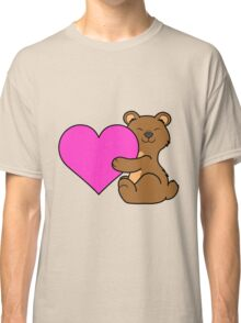 Valentine's Day Brown Bear with Pink Heart Classic T-Shirt