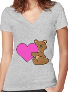 Valentine's Day Brown Bear with Pink Heart Women's Fitted V-Neck T-Shirt