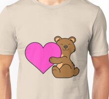 Valentine's Day Brown Bear with Pink Heart Unisex T-Shirt