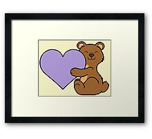 Valentine's Day Brown Bear with Light Purple Heart Framed Print