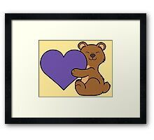 Valentine's Day Brown Bear with Purple Heart Framed Print