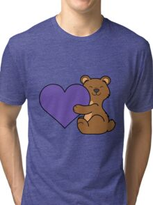 Valentine's Day Brown Bear with Purple Heart Tri-blend T-Shirt