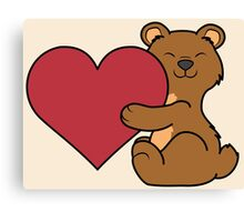 Valentine's Day Brown Bear with Red Heart Canvas Print