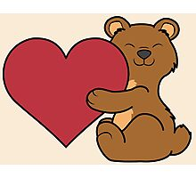 Valentine's Day Brown Bear with Red Heart Photographic Print