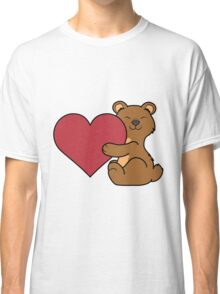 Valentine's Day Brown Bear with Red Heart Classic T-Shirt