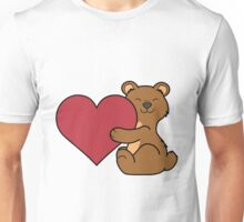 Valentine's Day Brown Bear with Red Heart Unisex T-Shirt