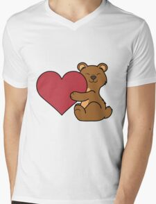 Valentine's Day Brown Bear with Red Heart Mens V-Neck T-Shirt