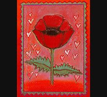 PASSION FOR POPPIES - A GORGEOUS SINGLE RED POPPY with little Hearts Womens Fitted T-Shirt