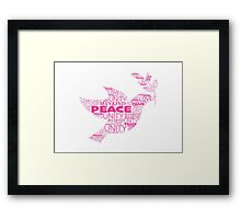 Peace Unity - Pink Framed Print