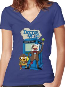 Finn and Jake Adventure Time Doctor Who Women's Fitted V-Neck T-Shirt