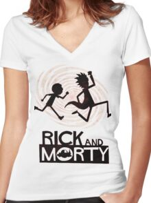 Morty Run Women's Fitted V-Neck T-Shirt