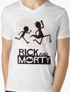 Morty Run Mens V-Neck T-Shirt