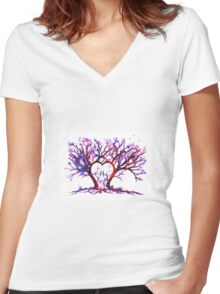 Trees - 'Love Grows' Women's Fitted V-Neck T-Shirt