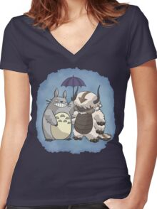 Totoro and Appa Women's Fitted V-Neck T-Shirt