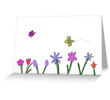 Flowers and bees Greeting Card