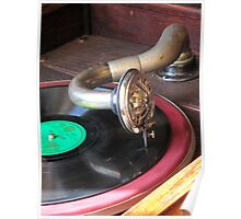 Close up of a Gramophone arm, needle and a 78 RPM record  Poster