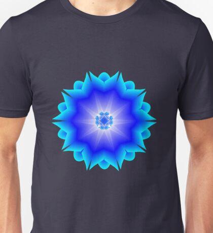 Floral Psychedelic Mandala Blue Unisex T-Shirt