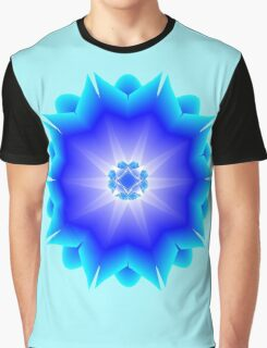 Floral Psychedelic Mandala Blue Graphic T-Shirt