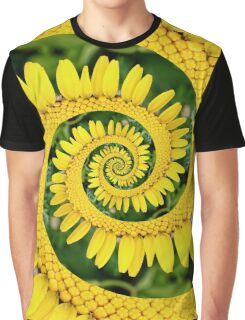 Yellow Floral Spiral Droste Effect Design Graphic T-Shirt
