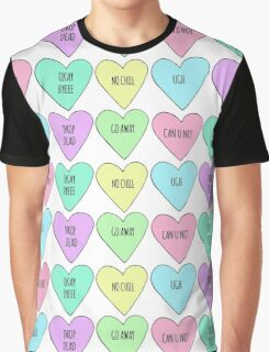 Realistic Conversation Hearts Valentines Graphic T-Shirt