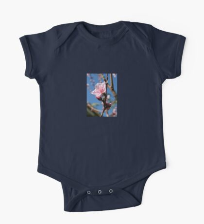 Delicate Buds of Peach Tree Blossom One Piece - Short Sleeve
