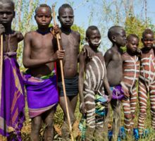 A group of young Mursi boys. Debub Omo Zone, Ethiopia,  Sticker