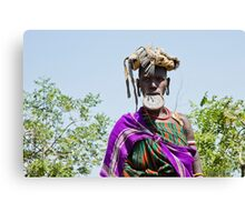 Woman of the Mursi tribe with clay lip disc Canvas Print