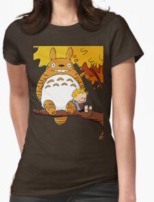 Totoro Calvin Hobbes Womens Fitted T-Shirt