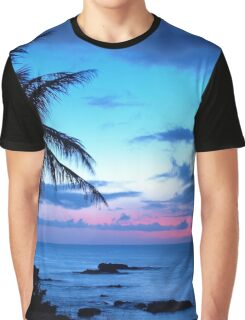 Tropical Island Pretty Pink Blue Sunset Landscape Graphic T-Shirt